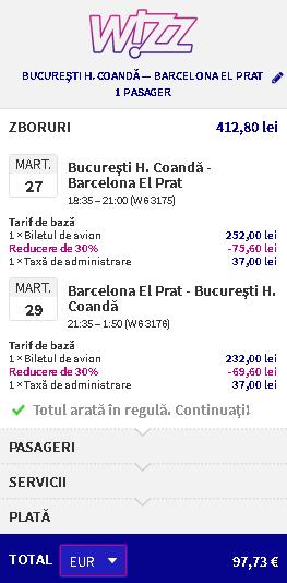 zbor barcelona