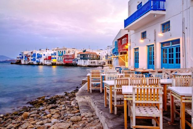 Beautiful sunrise at Little Venice on Mykonos island, Cyclades, Greece
